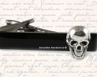Antique Silver Skull Head Tie Clip Gothic Victorian Tie Bar Accent Inlaid in Hand Painted Black Onyx Glossy Enamel Custom Colors Available