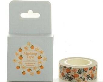 Washi Tape, Masking Tape, masking tape scrapbooking flower ORANGE