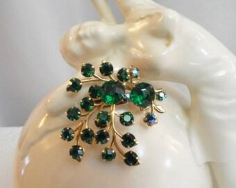 Green Rhinestone Brooch, Prong Set Rhinestones, AB Aurora Borealis, Gold Tone Metal, Leaf Design, Vintage 60s