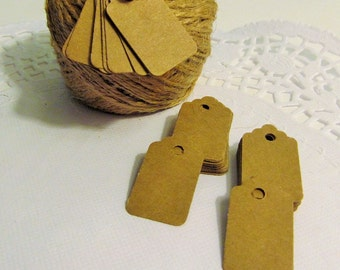 50 Kraft Mini Gift Tags - Thank You Tags - Gift Embellishment - Favor Tag - Price Tag - Jewelry Tag - Merchandise Tags