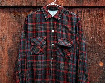 Mens / Large / Vintage/ Wool Blend / Button Down / Plaid Shirt