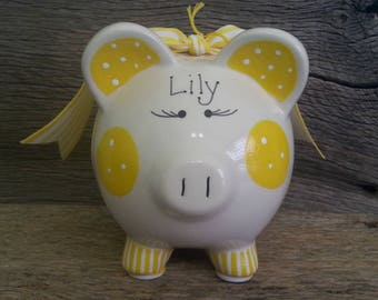 Piggy Bank Yellow Personalized and Hand Painted