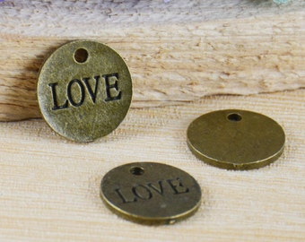 Round Disc Tag Charms -20pcs Antique Bronze LOVE Coin Charm Pendants 16mm C505-1