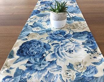 Table Runner, Hampton's Style Indoor/Outdoor Table Runner. Hamptons Decor. Blue Floral Decor