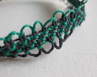 16 inch green and black hemp necklace