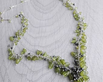 Cascading Peridot necklace Wisteria jewelry Outstanding Grass Green Peridot faceted Necklace sterning silver hematite necklace festive