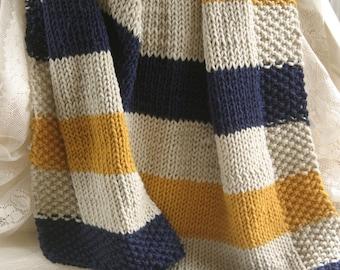 Navy, Mustard and Cream hand knit baby blanket