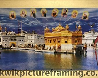 Harmandir Sahib Gurudwara Golden Temple In India With Sikh Gurus In Size – 28″ X 13″ Inches