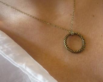 Dainty necklace, Boho Necklace, Delicate Necklace, Brass Necklace, Simple necklace, Stacking Necklace, hippie Pendant, Fine Brass Chain.
