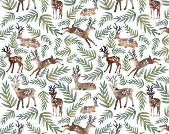 Crib Skirt Watercolor Deer. Baby Bedding. Crib Bedding. Crib Skirt Boy. Baby Boy Nursery. Deer Crib Skirt. Woodland Nursery.