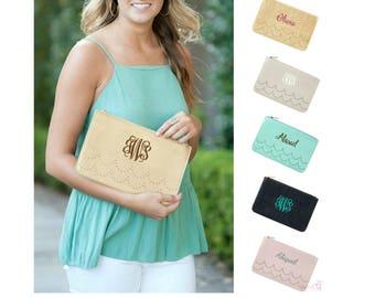 Monogrammed Clutch Purse Vegan Leather Handbag Personalized Clutch Monogrammed Handbag Vegan Leather Purse Clutch Handbag Mint Pink Gold