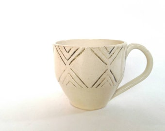 White ceramic coffee cup with lined pattern- wheel thrown pottery mug- hand carved mug in white