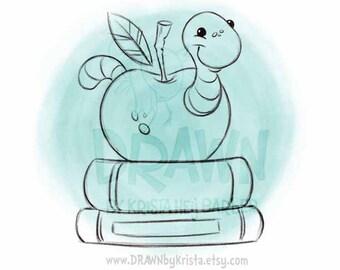 Worm in Apple on books- Back to School Digital Image- F1-WORMAP