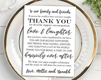 Printable Wedding Thank You Note Place Card, Placemat, Wedding Favor, Place Setting, Table Card, Thank you Card, Personalized, MB241