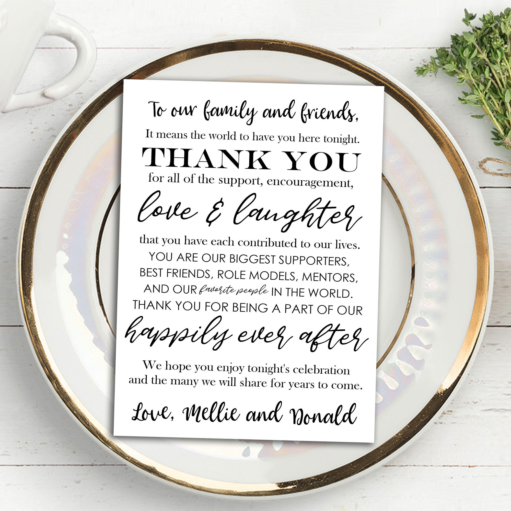 Printable Wedding Thank You Note Place Card Placemat Wedding