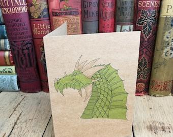 Dragon card, Birthday Card, Anniversary Card, anniversary, dragon birthday card, personalised card, green dragon