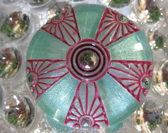 Japanese Floral Umbrella Design in Sea Foam Czech Glass Button 36mm