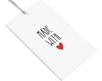 15 Made with Heart tags, gift tags, made with love, favor tags, handmade tags, cute gift tags, merchandise tags, baking tags, heart tag
