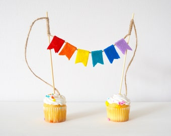 Rainbow Felt Banner Garland Cake and Cupcake Topper Birthday Party Decoration