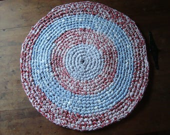 Baby Blue and Red Rustic Heritage Rag Rug #3