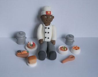 Handmade Edible Sugar Fondant Sugar Chef Cook Figure Cake Topper Decoration