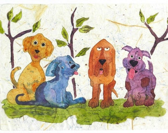 Metal Dog Wall Art,Watercolor Painting,Watercolor Dogs,Wall Art, Modern Art, Batik painting, Watercolor Batik,Aluminum Art,Dog Watercolor,