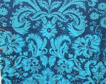 Fabric - Light Cotton Fabric Blue Baroque - Single Piece