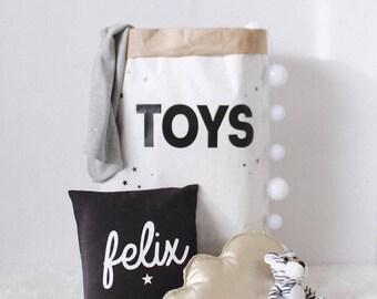 Rangement jouets, rangement de papier sac jouet, rangement élégant pour enfant, rangement jouet noir et blanc, rangement de la chambre de bébé