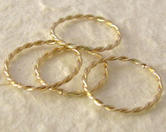 Gold Filled Twisted Jump Rings - Links - Connectors  - -  Medium Closed  11.6mm  - 20 gauge -  4 Rings  L69