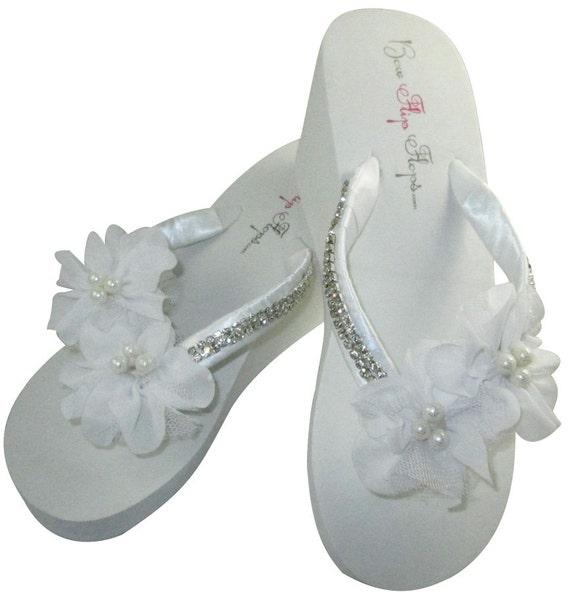 Flip Diamonte Bridal Flops Pearl Flower wqwt1R