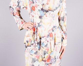 Vintage summer dress - dress with layered skirt - flowers Kleid-vintage 1970 - 70s dress - bunt - beige - pastel - dresses for ladies