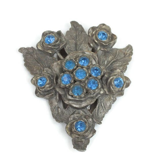 Vintage Little Nemo Dress Clip Sapphire Blue Stones Floral Design Dress Clip Dark Gray Metal
