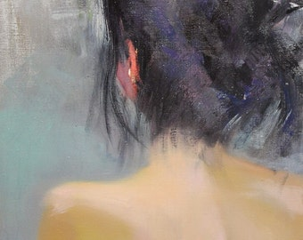 Contemporary Painting, Oil Painting Woman Art, Nude Artwork, Beige Nude Painting, Woman Back Canvas Painting