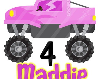 Monster Truck Girly Pink Birthday Number Personalized Digital Download .jpeg file for iron-ons, heat transfer, Scrapbooking,  DIY YOU PRINT