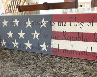 """Americana Sign Pledge of Allegiance Sign Signs w/ Sayings 7""""x36"""""""