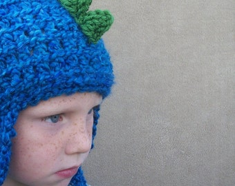 Dragon Hat in Deep End Blue - Snowboard Hat, Crochet Dinosaur Hat, Boy's Hat
