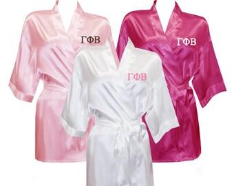 Gamma Phi Beta Satin Robe, Gamma Phi Beta Satin Robe, Sorority Letter Satin Robe, Greek Letters Apparel, Sorority Apparel