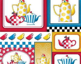Mary Engelbreit Tea Time Tossed Teapots on Patch Cotton Fabric