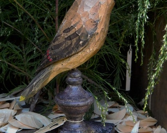 Hand Carved Bird (Cedar Waxwing) Perched on Antiqued Finial