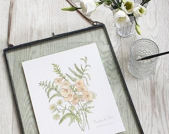 Foxglove & Fern, Botanical Wildflower Watercolour, Art Print