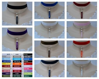 """Marble Chakra Bullet Velvet Chain Layer Choker, Choose Colour And Size, 16mm 5/8"""" Wide Ribbon"""