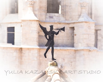 Herald on roof of ancient building Girona Catalonia Spain Fine art photography print Europe travel photo