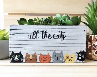 All the Cats, Cat Gifts, Cat Succulent Planter, Cat Lover Gift, Cats, Decorative Bin, Rustic Planter Box, Succulent Gift, Cat Gifts, Cat Pot
