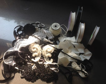 Ribbon and fabric scraps grab bag - Black and white