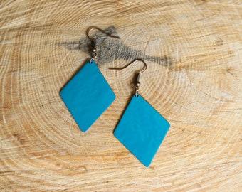 Rhombus turquoise enamel earrings