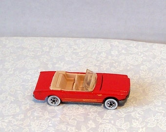 Hot Wheels 1983 Mustang Convertible - Vintage Original Diecast Red - Tan Interior