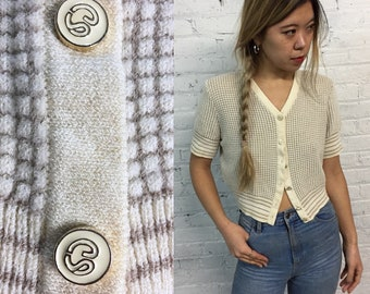 vintage St. John cropped short sleeve knit sweater / cream checkered button down crop top / neutral minimalist v neck sweater