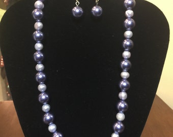 Two-Tone Periwinkle Pearl Necklace & Earring Set