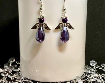 Purple & silver guardian angel earrings