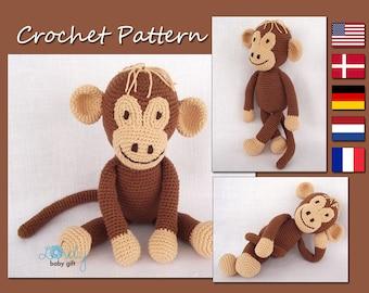 Amigurumi Pattern Crochet, Crochet Monkey Pattern, Amigurumi Monkey, Animal Crochet Pattern, CP-113